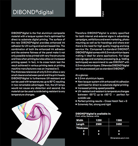 Image showing the construction of Dibond Digital from 3A Composites and used in a blog post about Dibond printing from QPS Print of Stoke on Trent
