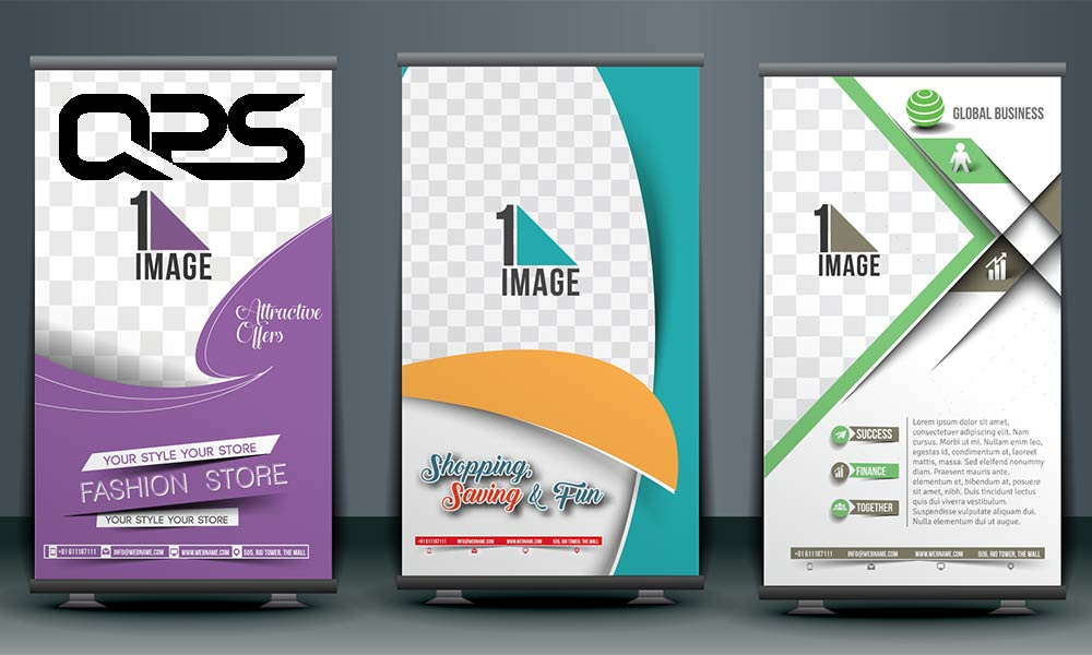Image of printed roller banners used in a blog post by QPS Print about pop up banners and what is the best for your business