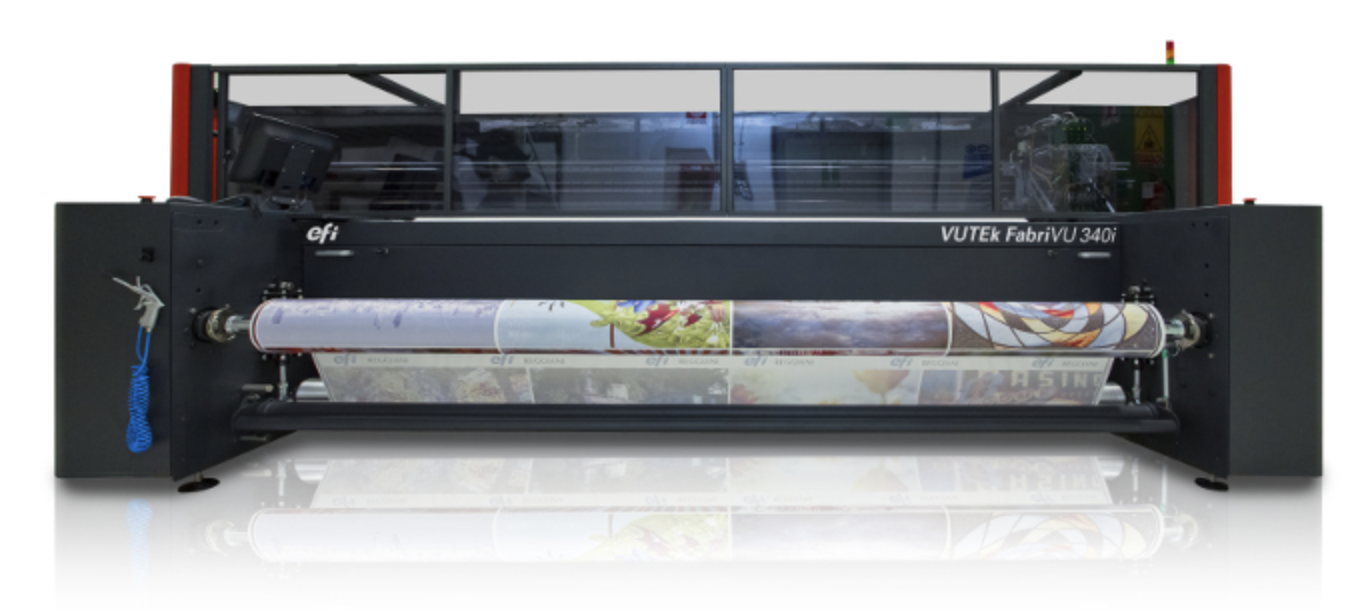 Image of a fabrivu dye sublimation printer used in a blog post about printing on fabrics for exhibition displays and retail signage by QPS Print
