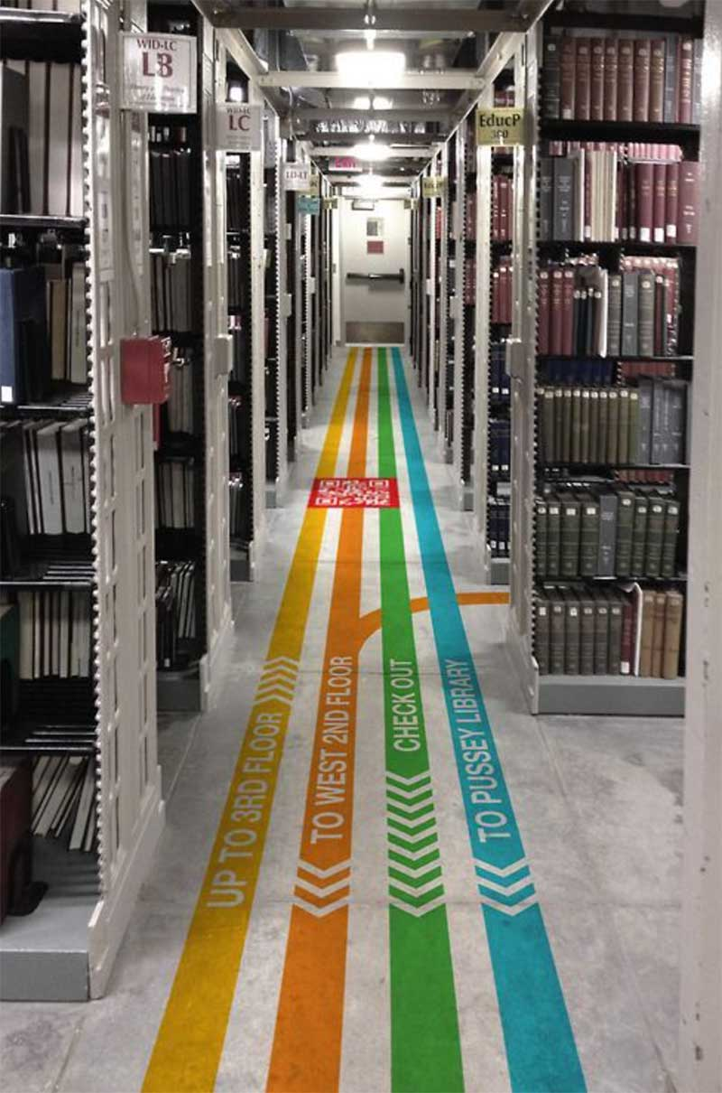 Image showing Museum and library wayfinding floor graphics signage used in a blog post by QPS Print