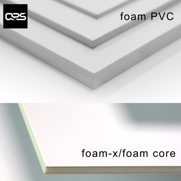 Image showing Foamex foam PVC panels and Foam-X or foam core panels used in a blog post by QPS Print about foamex boards and foamex printing