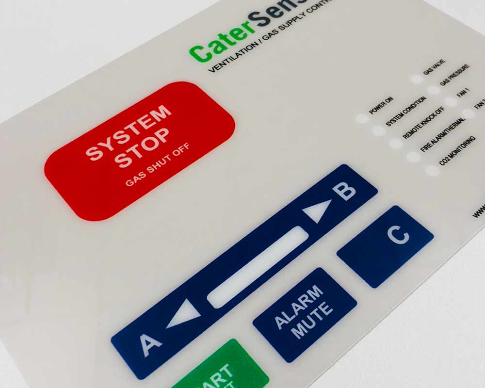 Image showing a graphic overlay and fascia panels for control panels used in a blog post by QPS Print the manufacturer of printed keyboard membranes