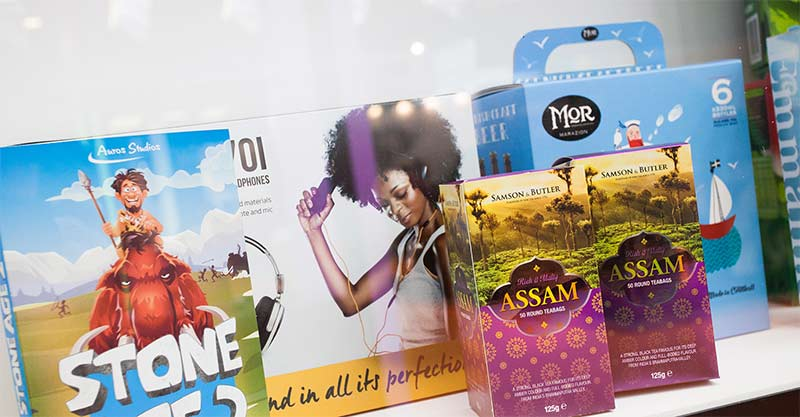 Image showing prototype packaging solutions by QPS Print and created using the Fuji UV flatbed printers