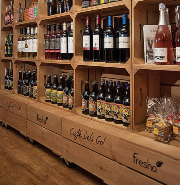 Image showing wooden printed panels and crates used in a blogpost about printed wooden retail and leisure POS